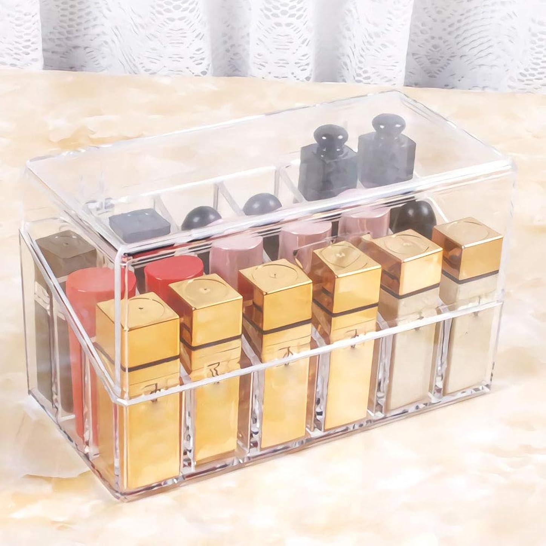 苛性寄生虫塩アクリルケース リップ収納 ボックス プレゼント 口紅いれ 蓋付き 仕切り式 多用途 防塵 透明 18本