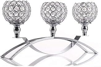 Estrymiw European Style Crystal Candle Holders for Wedding Christmas Dining Room Coffee Table Decorative Centerpiece Elega...