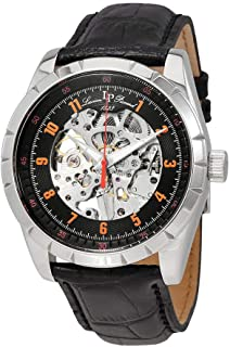 Men's Hampton Stainless Steel Mechanical-Hand-Wind Watch with Leather Calfskin Strap, Black, 24 (Model: LP-40028M-01-OA)