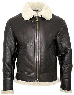 Men's Cream B3 Shearling Sheepskin World War 2 Bomber Leather Flying Aviator Jacket