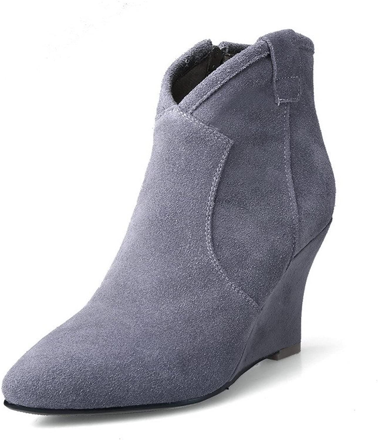 WeenFashion Women's Cow Imitated Suede High-Heels Pointed-Toe Boots with Rubber shoes Sole