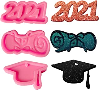 3 Pieces Graduation Resin Molds, 2021 Resin Molds Silicone Graduation Cap Mold Congrats Cupcake Silicone Baking Molds Cand...