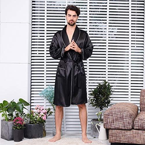 Luxury Designer Men's Silk Kimono Robe Plus 5XL Long Sleeve Men Sleepwear Bathrobe Oversized Satin Nightgown Summer Home Clothing (Color : Robe 11, Size : XL)