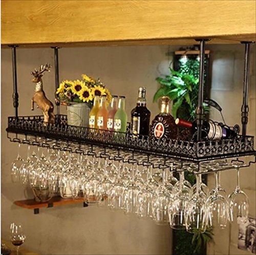 CDBL Bar Sospensione Bancone da Bar Portabottiglie Ristorante Casalinghi Bicchieri rovesciati Scaffale rovesciato Retro Arte del Ferro Portabottiglie