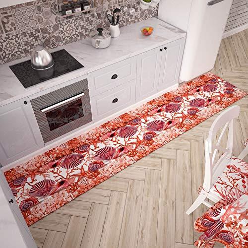 PETTI Artigiani Italiani - Tappeto Cucina Passatoia Cucina Antiscivolo e Lavabile 52x280 cm Disegno Corallo Rosso 100% Made in Italy