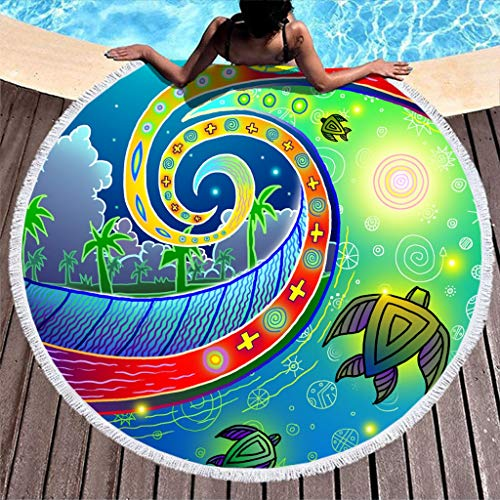 Runinixx Sea Turtle strandhanddoek, knijpers, groot picknickkleed, wandkleed, rond, yogamatten, handwerk, kwast, diameter 150 cm