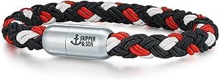 Skipper & Son Herren-Armband Segeltau rot/weiß/schwarz Edelstahl - Armbänder Mann maritim Männer-Schmuck Freundschaftsarmband