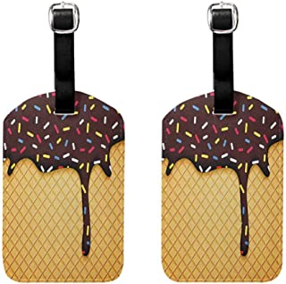 Pack of 2 Flexible luggage tag Ice Cream Suitable for travel Waffle Chocolate Flavor Dessert Delicious Yummy Backdrop Stylish Graphic Dark Brown Mustard
