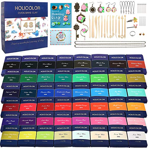 HOLICOLOR 48 Colors (1.4 Ounce Per Pack) Polymer Clay Kit Includes Extra 1 White and 1 Black Oven Bake Clay with Accessories Sets and 13 Sculpting Tools, Manual Book, Magic Modeling Clay kit