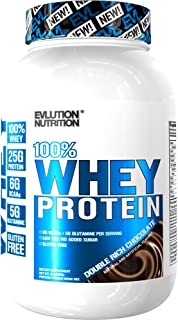 Evlution Nutrition 100% Whey Protein, 25g of Whey Protein, 6g of BCAAs, 5g of Glutamine, Gluten Free (2 LB, Double Rich Chocolate)