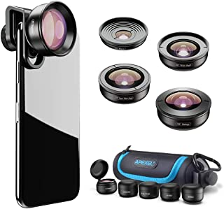 Apexel - Kit de Lentes de teléfono HD (170 ° Gran Angular 10 Lentes Macro ángulo de 110° Zoom de 20X Lente Ojo de pez de 195 ° para iPhone XR/XS/XS MAX/X/8 7 6 Plus Android Samsung)