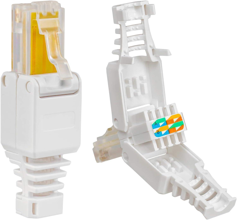 1 conector de red RJ45 cat 6 con contactos dorados, LAN, conector de crimpado para cable de conexión, cable de instalación, cat 7, cat 6A, cat 5, compatible, sin herramientas, conector DSL UTP 4x