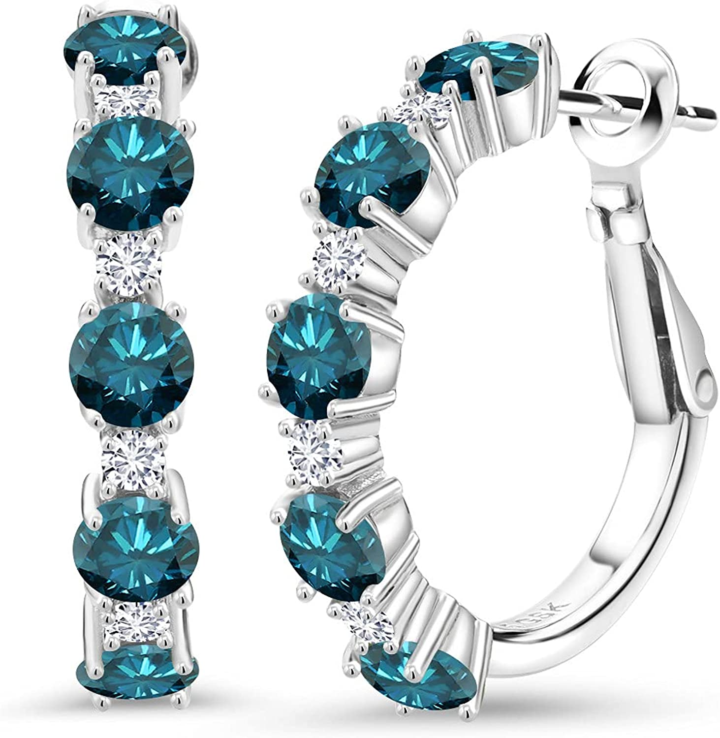 925 Sterling Silver Hoop Earrings Round Gem Popular 5 ☆ popular products Sto Blue Diamond and