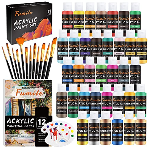 Acrylic Paint Set,61Pcs Set with 36 Colors (60ml, 2oz) ,12 Brushes ,1 Palette and 12pcs A4 Painting Paper for Artists,Beginners and Kids on Rocks, Crafts, Canvas,Wood, Fabric and Ceramic