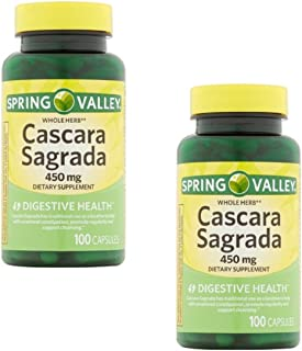 Pack of 2 - Spring Valley Whole Herb Cascara Sagrada Capsules, 450 mg, 100 Ct