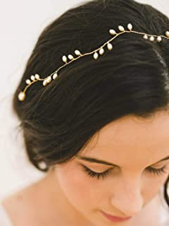 Unicra Wedding Pearl Hair Vine Bridal Headpiece Headbands Gold Hair Accessories for Brides and Bridesmaids(15.35inches)