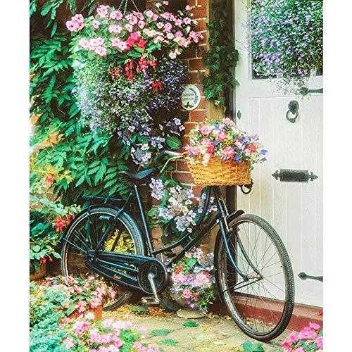 5D DIY schilderij diamant kruissteek set bloemen mand retro fiets volwassenen kinderen diamond schilderij nummer strass handwerk huis woonkamer decoratie muursticker P2654