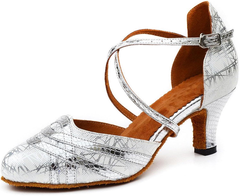 Misu Women's Closed Toe Suede Sole Latin Salsa Tango Practice Ballroom Dance shoes with 2.2  Heel Silver