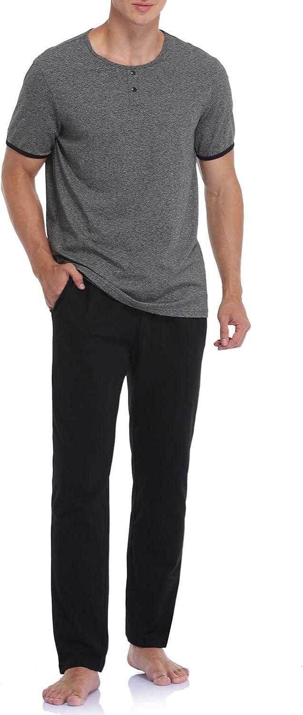 COLORFULLEAF Men's Sleepwear Cotton Pajamas Set Lightweight Pjs Short Sleeve Loungewear Top and Long Pants Men Lounge Sets