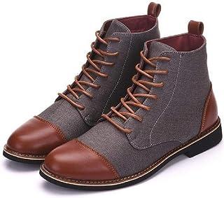 LUXDAMAI Bottes Courtes pour Hommes Grande Taille Botte Martin DéContractée Bout Rond Chaussures HabilléEs d'affaires Chel...