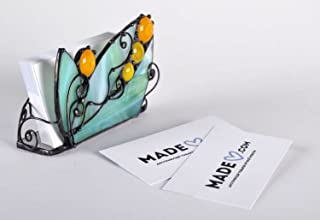 Unique Stained Glass Handmade Business Cards Holder Office Supply – Perfect Gift Idea by MadeHeart