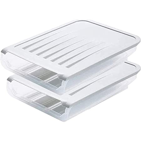 2 Pack Auto Scrolling Egg Storage Holder,Plastic Egg Container Food Boxes, Kitchen Refrigerator Egg Storage Box, Can Hold Up to 18 Eggs