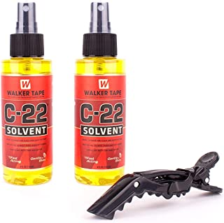 Walker Tape C-22 Solvent Spray Remover for Lace Wigs, Toupees, and Tape-In 100% Remy Human Hair Extensions (2 Pack w/ Free Shark Clip)