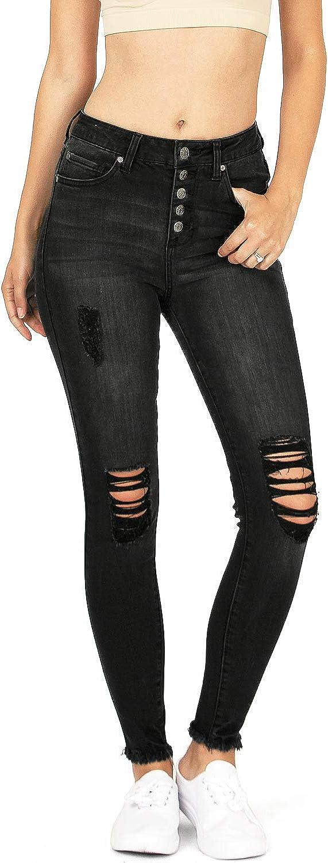 CelebrityPink Women's Juniors High Waist Button Up Skinny Jeans