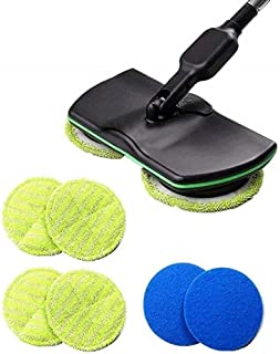 RQUEN Balai à franges électrique 3 en 1 avec poignée sans fil pour toutes les surfaces, polisseuse sèche et humide avec 4 ...
