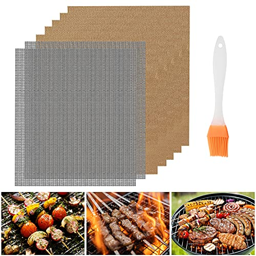 Jsdoin Set of 7 BBQ Grill Mat, 2 Style Non Stick BBQ Grill Mesh Mat with...
