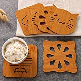 SKUDGEAR 6 Pack Non-Slip Bamboo Wooden Table Mats Heat Resistant Hot Pot Holders Creative Cup Coasters Kitchen, Dining Table Accessories
