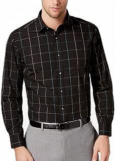 Mens Windowpane Button Up Dress Shirt