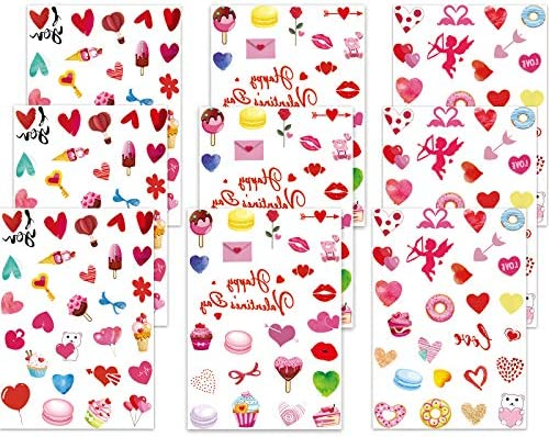 231 Pieces Valentine s Day Tattoos Sticker Romantic Valentines Heart Tattoo Waterproof Love product image