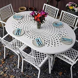 Lazy Susan Weißes Jessica 180 x 120cm Ovales Gartenmöbelset Alu - 1 Weißer Jessica Tisch + 6 Weiße Mary Stühle