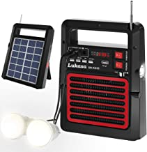Lukasa Portable FM Radio Solar Powered Build-in Bluetooth Speaker 5200mAh Power Bank MP3 Player,Rechargeable Battery LED T...