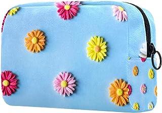 Makeup Bag Toiletry Bag for Women Daisy Skincare Cosmetic Handy Pouch Zipper Handbag