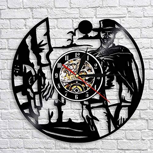 QIANGTOU Wild West Sunset Cowboys Paisaje decoración de Pared Reloj de Pared Western Rodeos Gunslinger Vinilo Registro Reloj de Pared Cowboys decoración del hogar