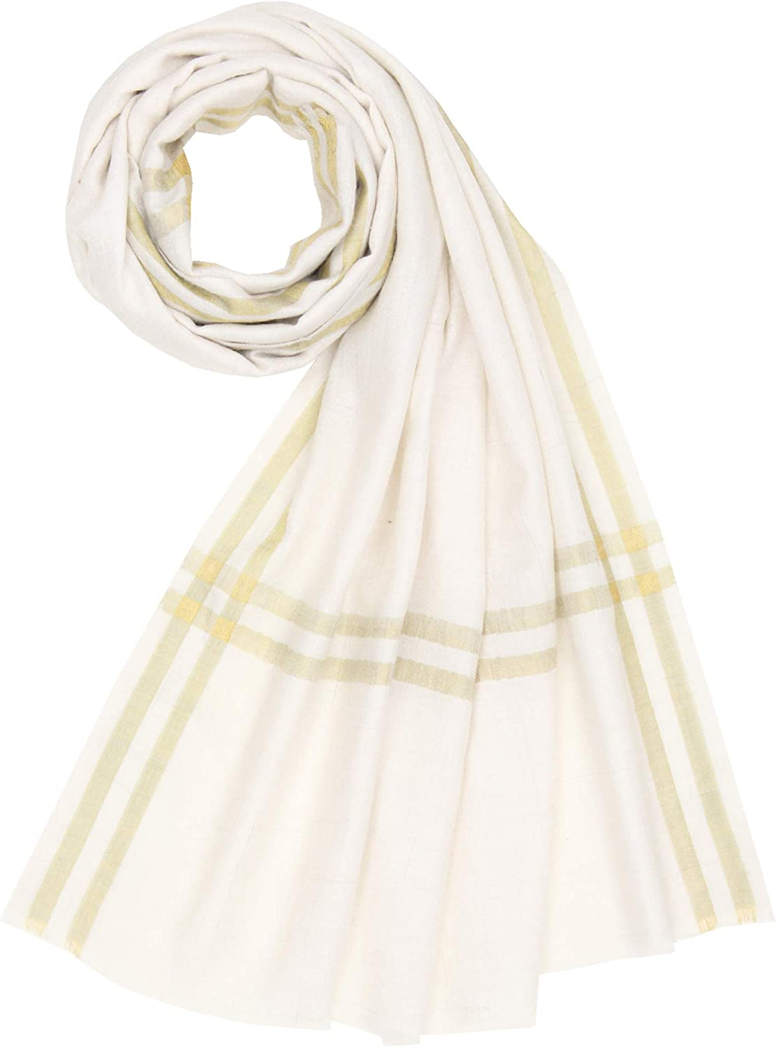 100% Handspun Cashmere Womens Mens Stripes Scarf Stole Shawl Ivory gold