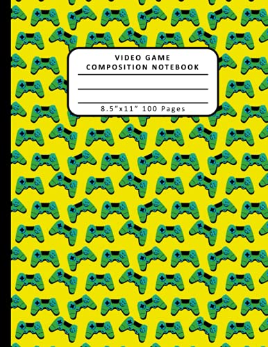 Video Game Composition Notebook: Wide Ruled Composition Notebook Journal, 8.5 x 11, 100 Pages, For kids, teens, adults, and gamers with a Game Controller Theme