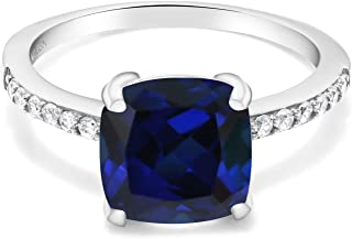 925 Sterling Silver Blue Simulated Sapphire Women Ring (2.62 Ct Cushion Cut, Available in size 5, 6, 7, 8, 9)