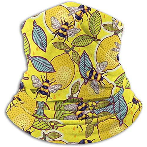 Overlooked Shop Gelbe Zitrone und Biene Garten Nackenwärmer Schal Gamasche Gesichtsmaske Bandanas
