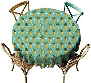 W Machine Sky Jacquard Tablecloth Pineapple,Geometric Hipster Design Tropical Climate Fruits Pattern Retro Summer,Orange Seafoam Green Diameter 54