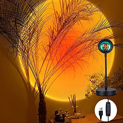 Sunset Lamp Led Dimmbar,WOANWAY Sunset Projektion Led Licht,USB LED Projektor Lampe Licht,Projektor Lichter 360 ° Drehung Romantische Visuelle Stimmungslampe Beleuchtung Schlafzimmer Deko (Sunset red)