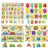 Ulikey 4 Piezas Puzzle de Madera Letras Número Vehículo Mueble, Rompecabezas Madera Aprendizaje Temprano Juego Educativo Juguetes Educativos Montessori Juego de Regalo para Niños Niñas (Número Letras)