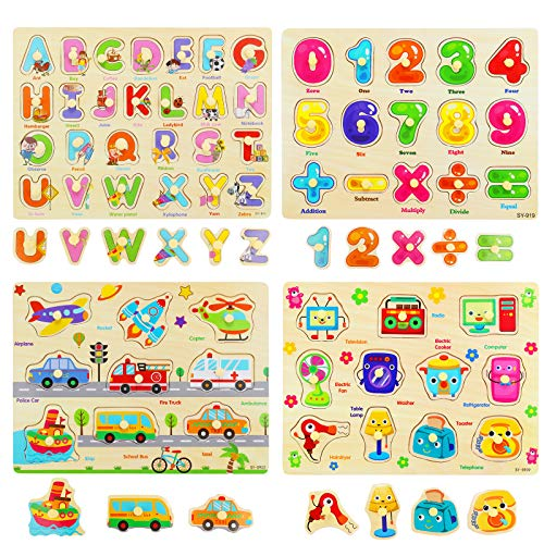 Ulikey Set di 4 Puzzle in Legno per Bambini, Puzzle Lettere Alfabeto Mobili Veicoli, Puzzle Educativo per Apprendimento Montessori Gioco Blocchi di Regalo per Ragazza Ragazzo (Numero Alfabetico)
