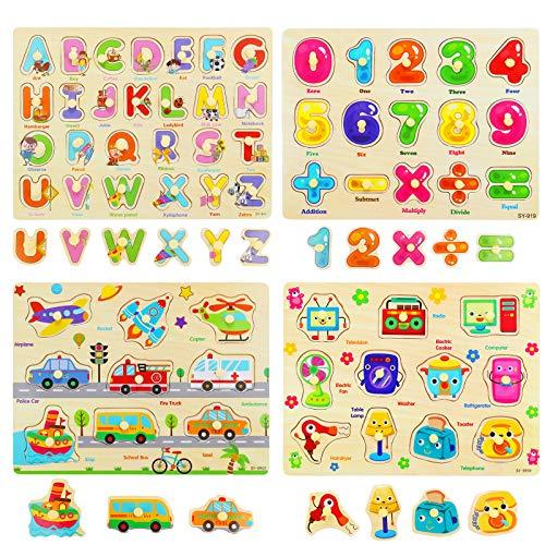 Ulikey 4 Piezas Puzzle de Madera Letras Número Vehículo Mueble, Rompecabezas Madera Aprendizaje Temprano Juego Educativo Juguetes Educativos Montessori Juego de Regalo para Niños Niñas (Letras Número)