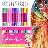 MojiDecor Haarkreide Gesichtsbemalung Glitter Temporäre Haarkreide, 12 Farben Hair Chalk Set für...