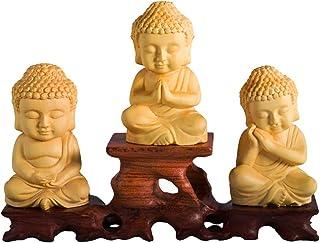 仏像 木彫り ミニ 釈迦 如来像 可愛い 【3点セット】 仏壇用のご本尊仏像 (高さ6.8cm×巾4cm×奥行3cm) 【繁樓藝雕·TheChanger】