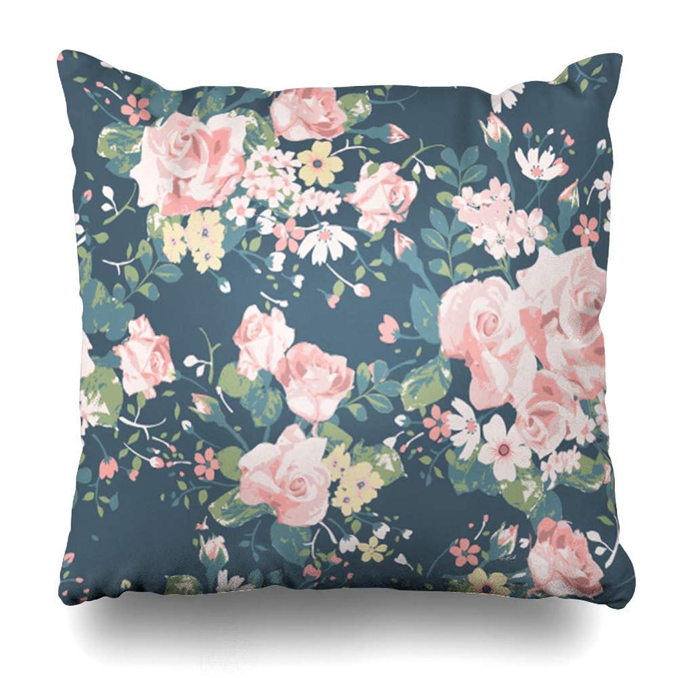 あたり暴露する兵士枕カバーを投げるネイビーグリーンの花に青い花柄ヴィンテージローズ柄かなりフェミニンな蝶抽象ジッパー付き枕スクエアサイズ45 x 45 cm家の装飾枕カバー