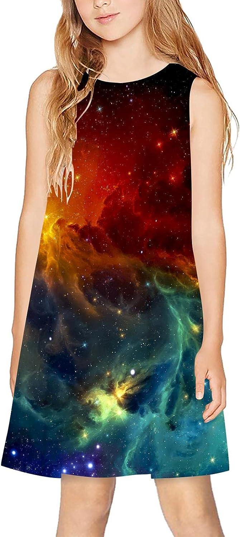 CAPINER 3D Print Girls Sleeveless Dress,Summer Galaxy Sky Casual Dress Crewneck